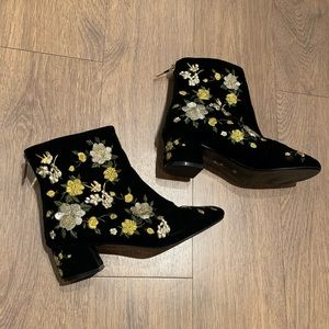 Topshop Embroidered Velvet Boots, Size 7